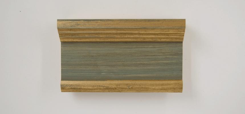 H3E90S Goud - pastelgroen handgegrondeerd